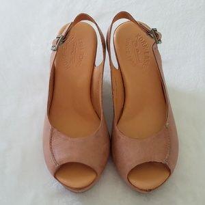Kork-Ease Sharon tan peep toe wedge heels